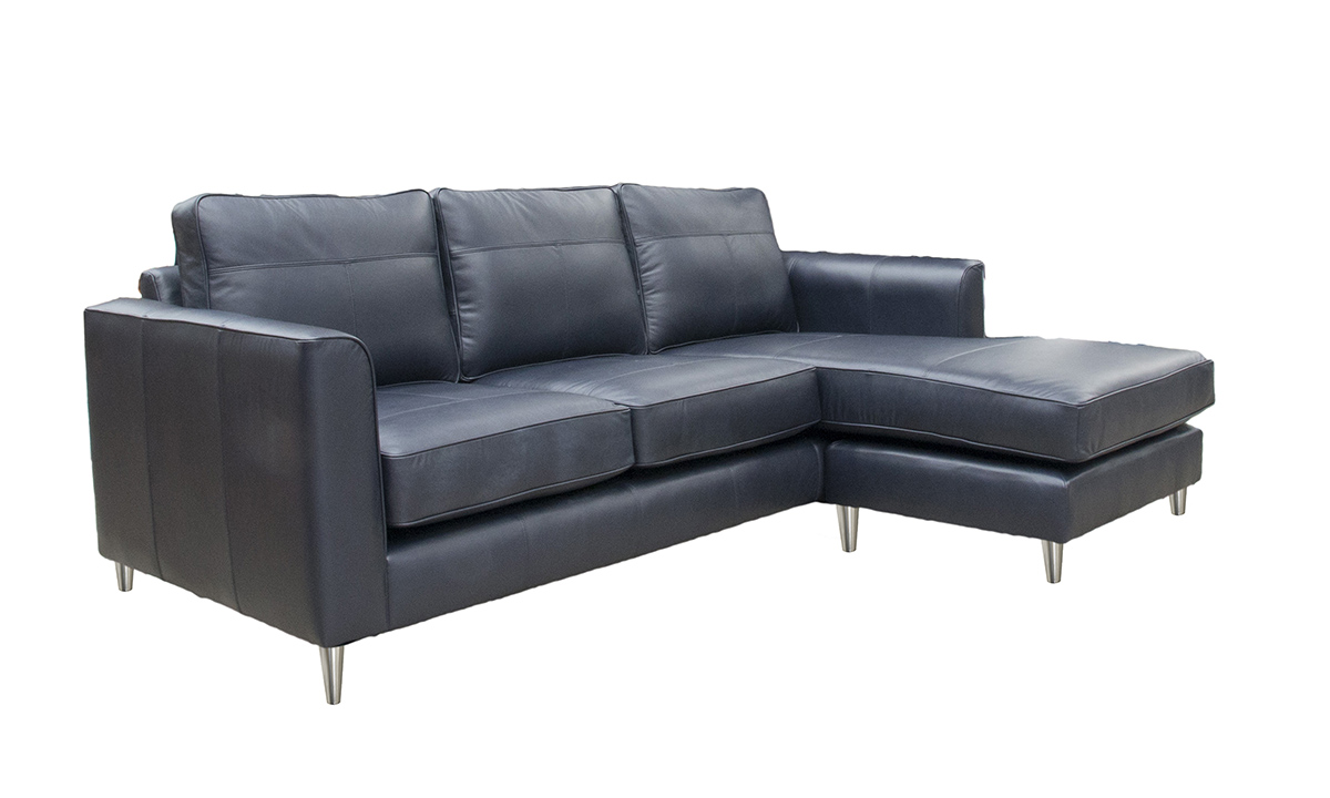 Leather Nolan Chaise End Sofa in Chelsea Blueberry