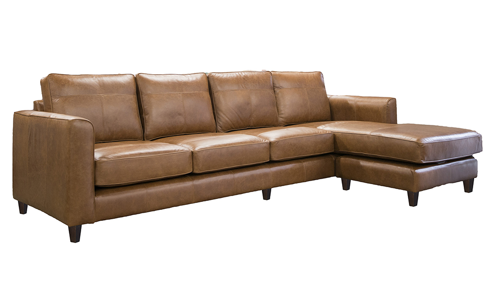 Leather Nolan chaise end Sofa in mustang tan