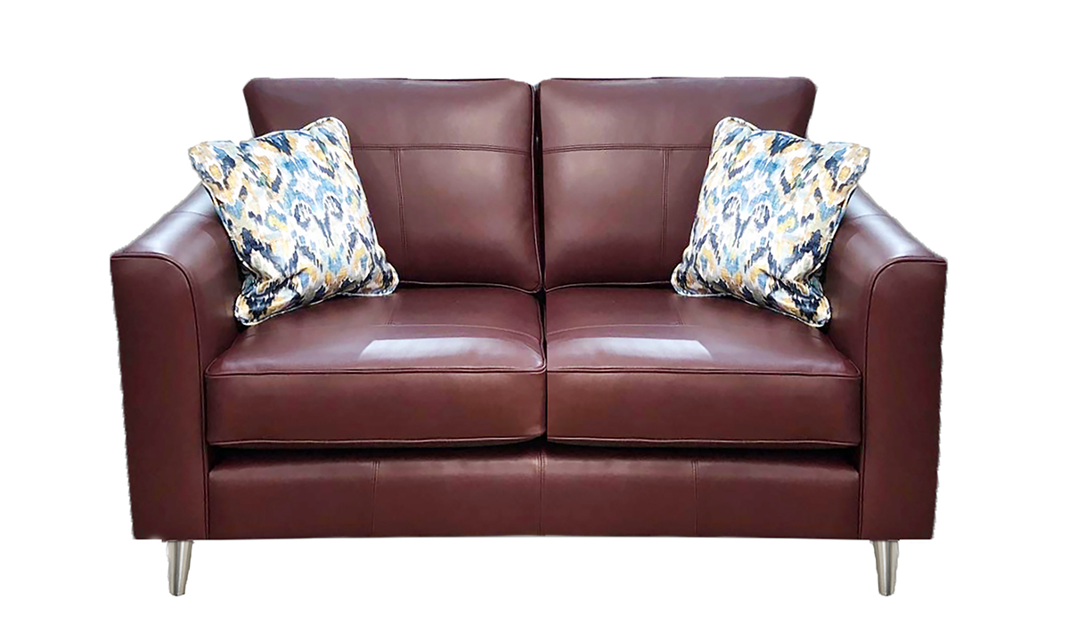Leather Nolan Small Sofa in Mustang Rust