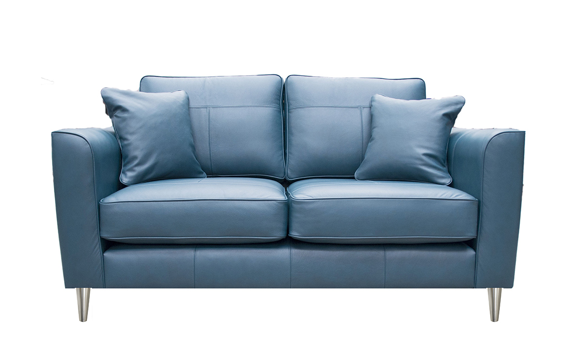 Small Leather Sofa in Chelsea Peacock