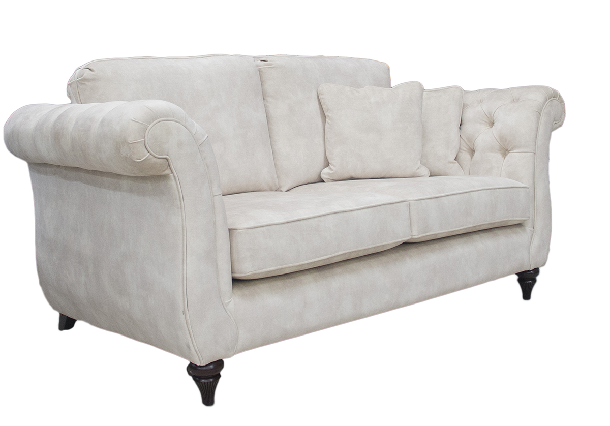 Letrec 2 Seater Sofa Side in Lovely Almond Gold Collection Fabric