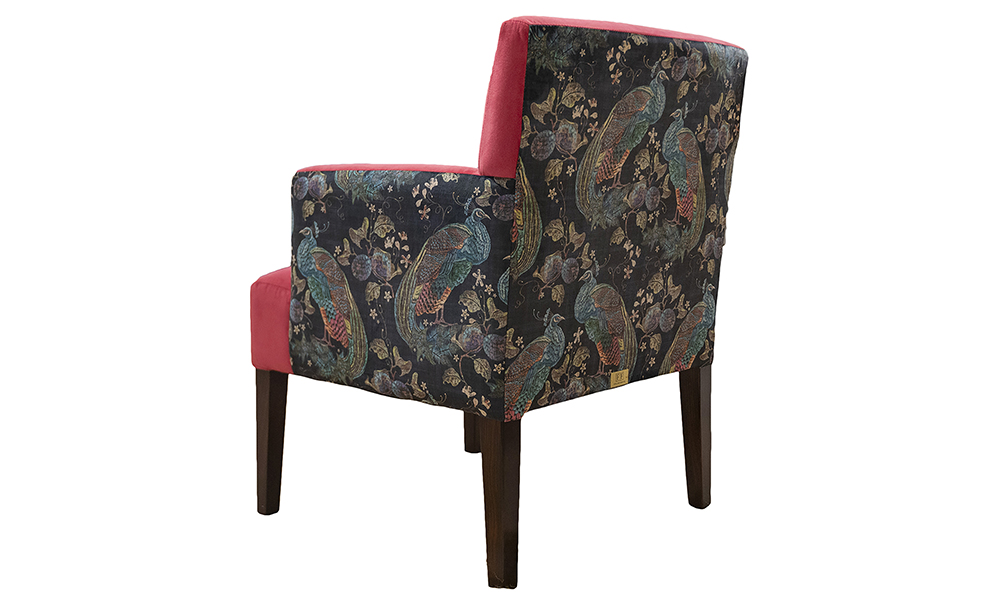 Lisa Chair in Plush Peony, Silver Collection Fabric, Side Panel in Peacock Navy, Platinium Collection Fabric