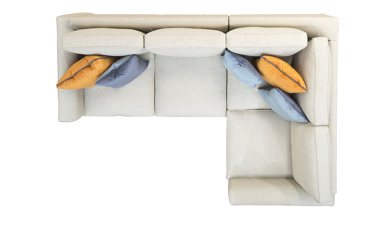 Bespoke Logan Corner Sofa, Top View, with Fibre Filled Cushions in Luxor Marigold, Silver Collection Fabric