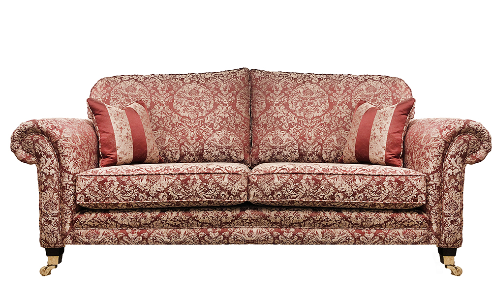 Louis 3 Seater Sofa in Bury Pattern, Gold Collection Fabric