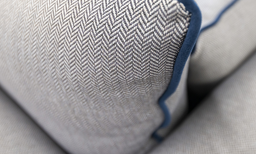 Monroe Back Cushion Discontinued Fabric, Porto Charcoal, Piped in Plush Indigo, Silver Collection Fabric  - 519303