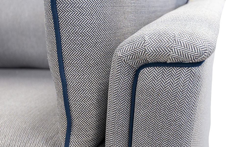 Monroe Arm Discontinued Fabric, Porto Charcoal, Piped in Plush Indigo, Silver Collection Fabric - 519303