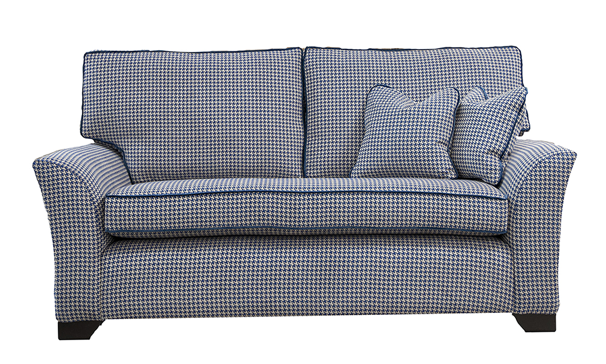 Bespoke Malton Large Sofa, bench seat, Poppy Navy, Silver Collection of Fabrics