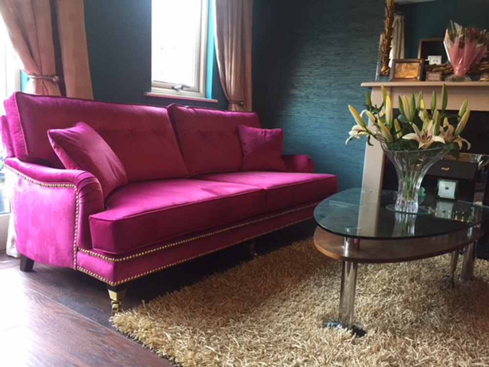 Grand and large Holmes with Brass studding in Luxor Cerise Velvet
