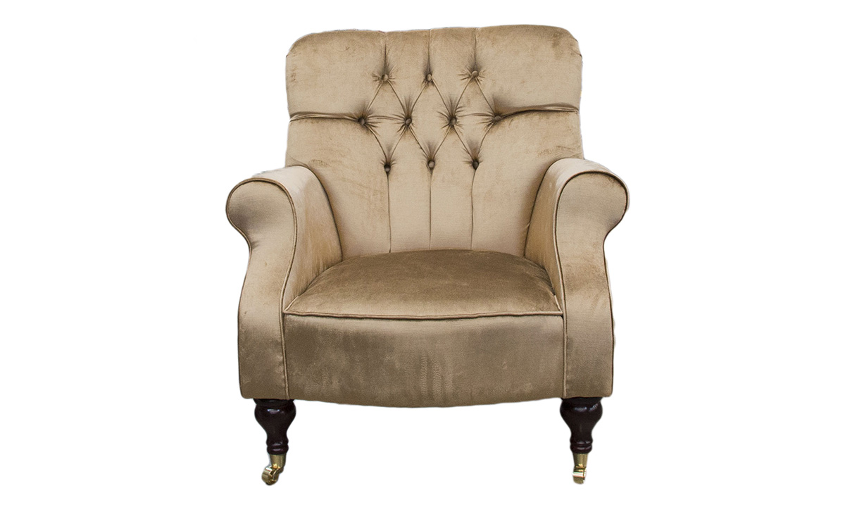Matisse Deep Buttoned Chair in a Platinum Collection Velvet