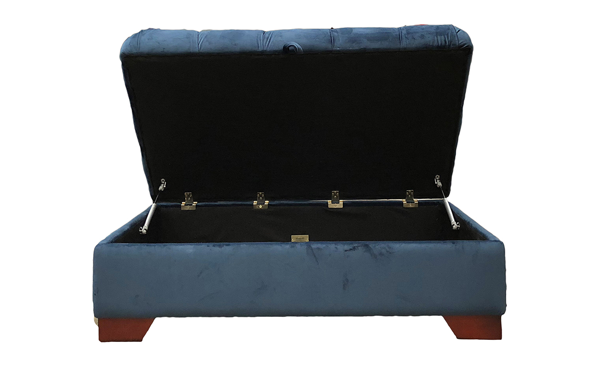 Monroe Footstool Deep Button & Storage Bespoke Size, Customers Own Fabric