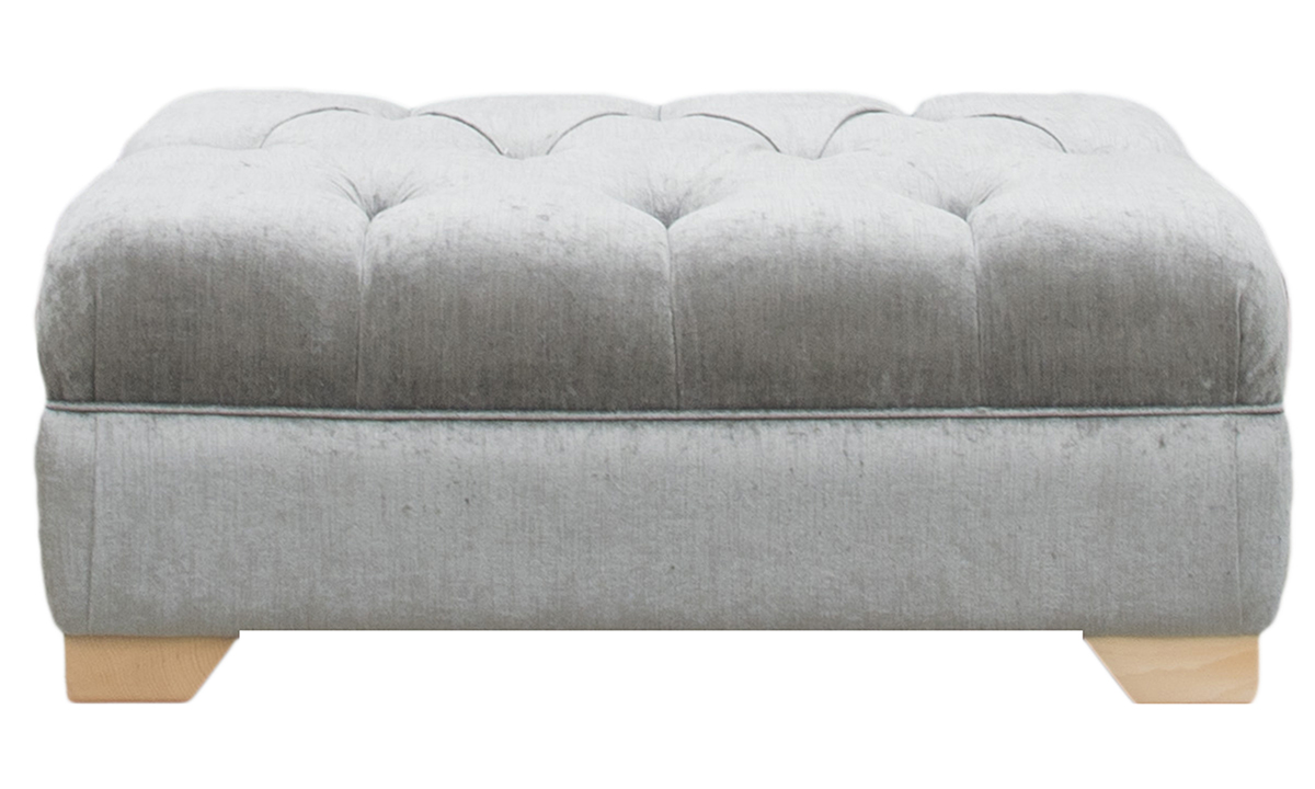 Monroe Footstool in Edinburgh Truffle, Silver Collection Fabric