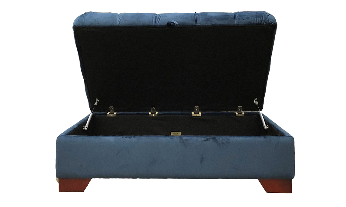 Bespoke Size Monroe Footstool with Deep Button & Storage in Customers Own Fabric