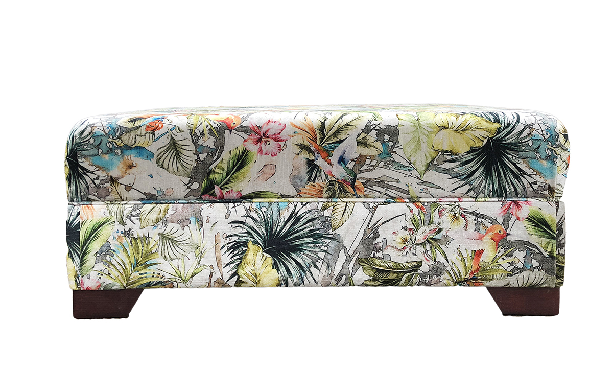 Monroe Footstool in Paradise Multi, Platinum Collection Fabric