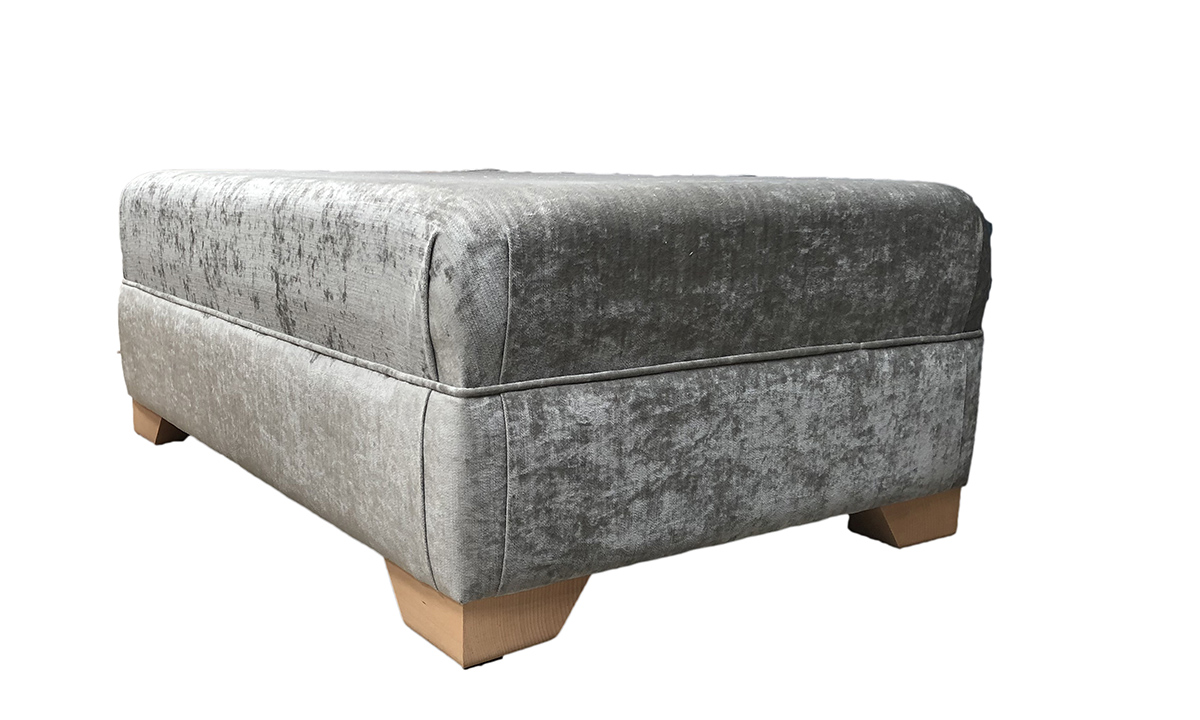 Monroe Footstool in Edinburgh French, Silver Collection Fabric Grey