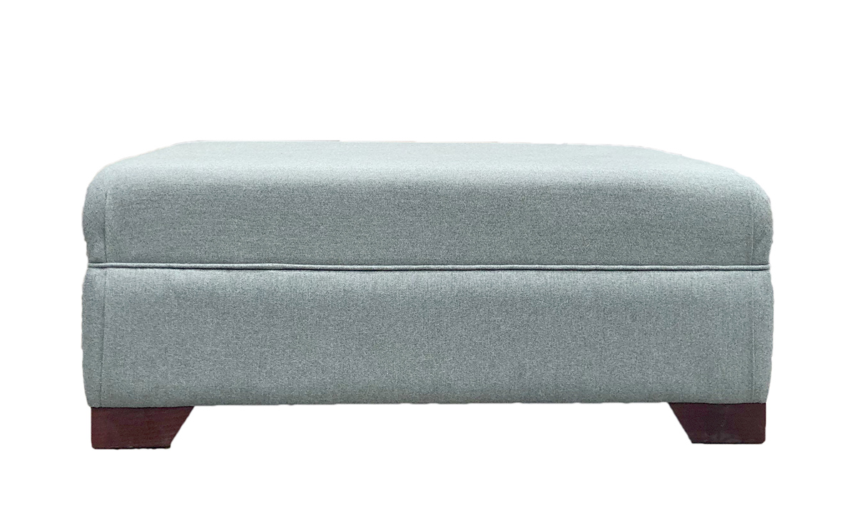 Monroe Footstool in Tweed Duck Egg, Silver Collection Fabric