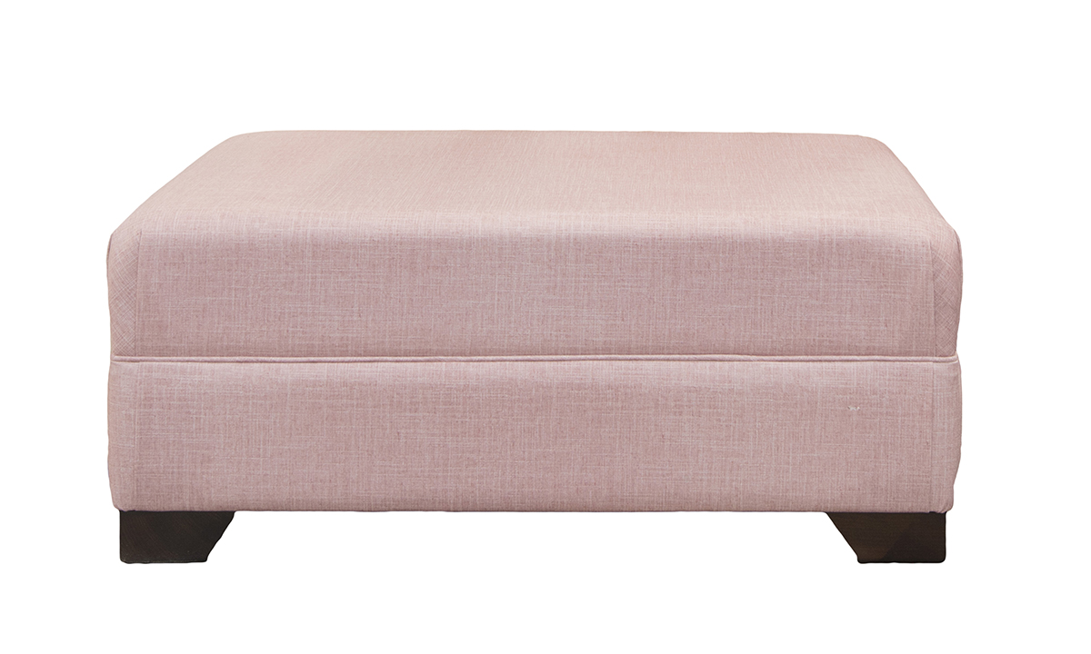 Monroe Footstool in Havana Rose Silver Collection Fabric