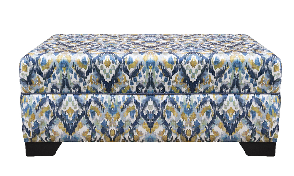 Monroe Footstool in Monet Winter, Platinum  Collection Fabric