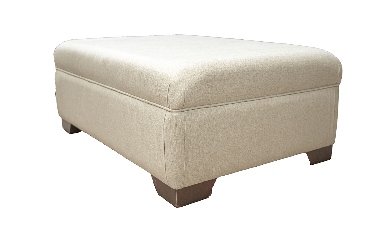 Monroe Footstool in Tweed Oatmeal Silver Collection Fabric