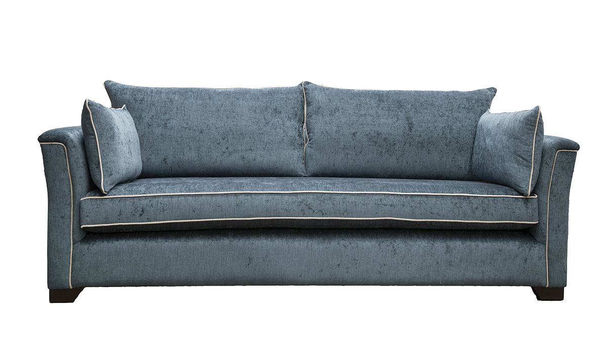 Bespoke Size Monroe Sofa Side, With Bench Seat in Edinburgh Petrol, Silver Collection Fabric