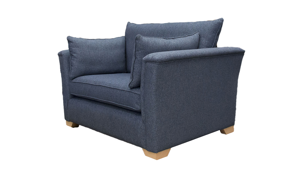 Monroe Love Seat in Belize Ink, Bronze Collection Fabric