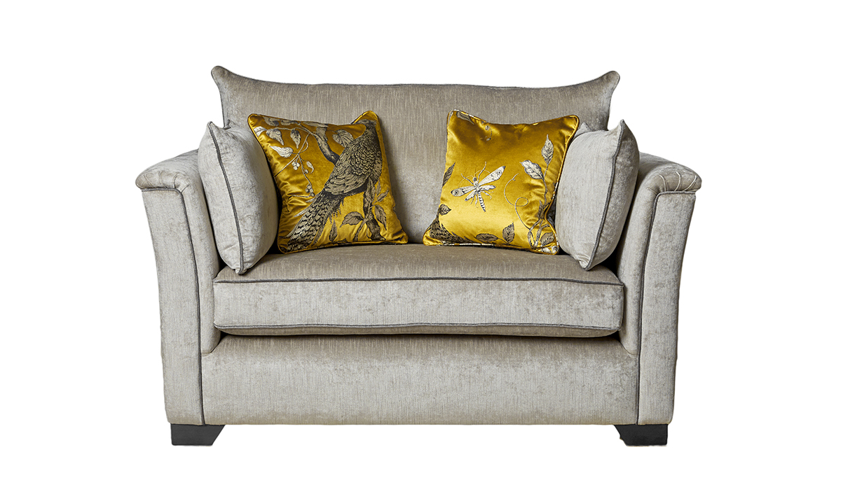 Monroe Love Seat in Edinburgh French Grey. Silver Collection Fabric