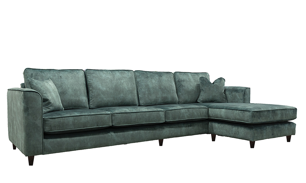 Nolan 4 Seater Chaise End Sofa in Lovely Emerald, Gold Collection Fabric
