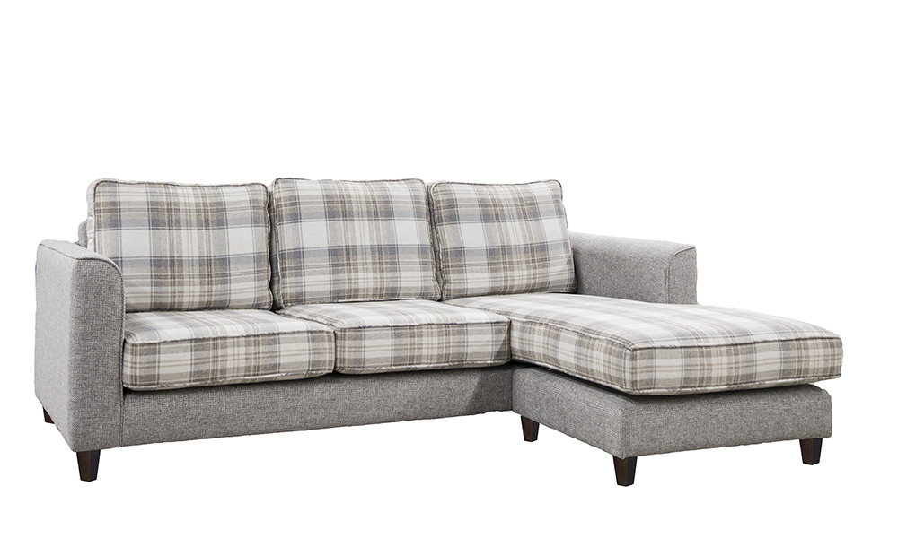 Nolan 3 Seater chaise end sofa in aviemore plaid and Milwaukee grey