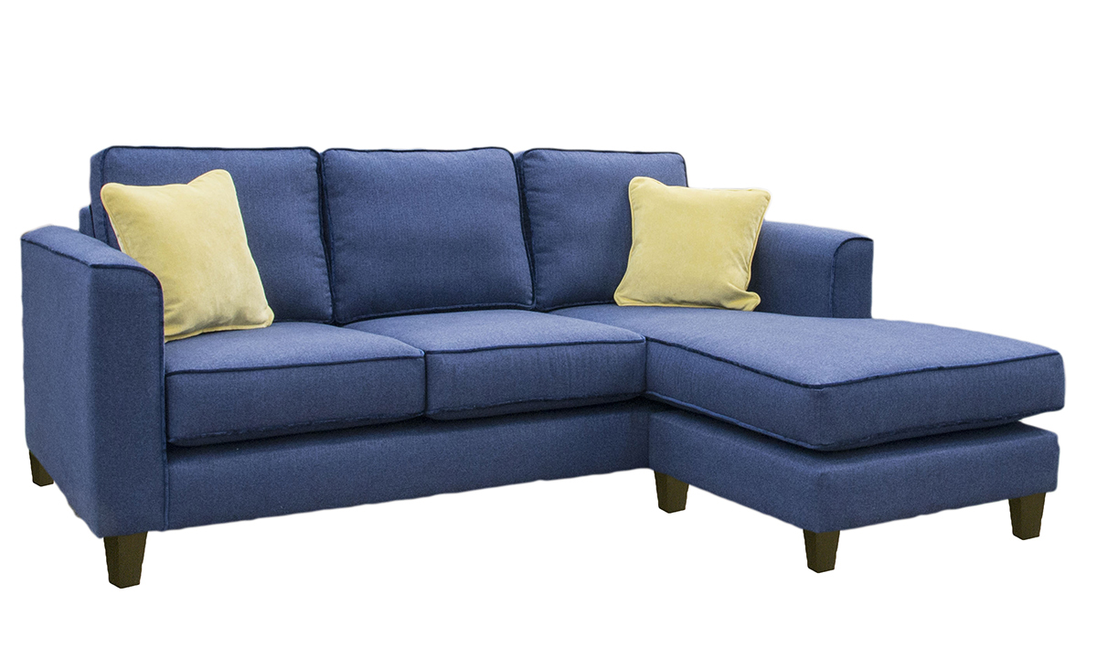 Nolan 3 Seater Chaise End Sofa in Mckenzie, Silver Collection Fabric