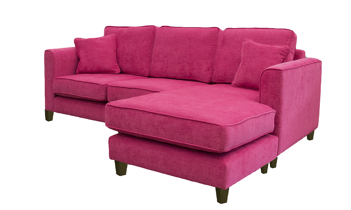 Nolan 3 Seater Chaise End Sofa in Senna, Platinum  Collection Fabric