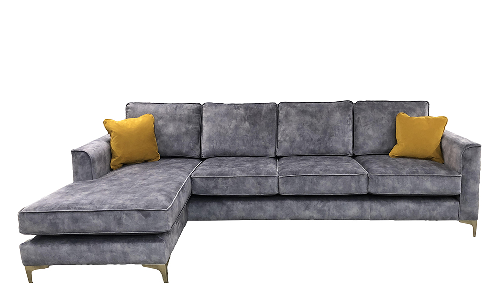 Nolan 4 Seater Chaise End Sofa in Lovely Armour, Gold Collection Fabric - 519154