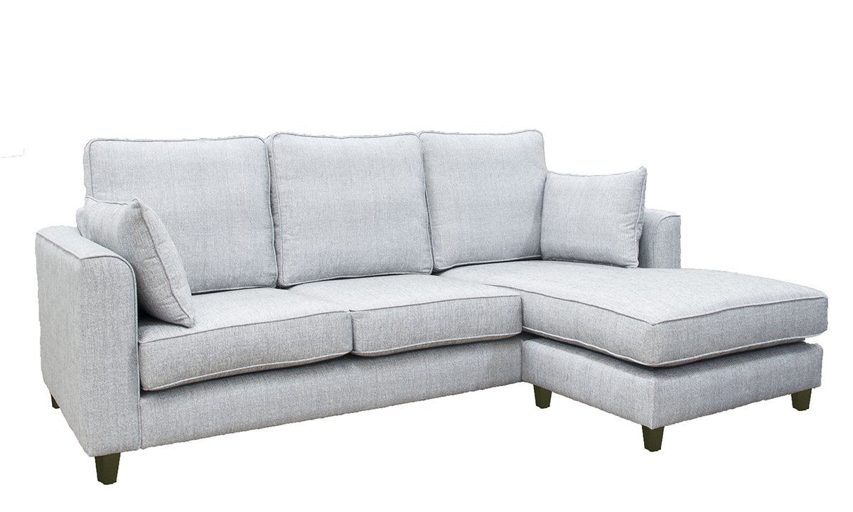 Nolan 3 Seater Chaise End Sofa in a Silver Collection Fabric