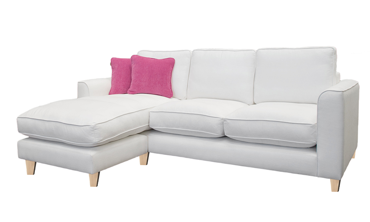 Nolan 3 Seater Chaise End Sofa with fibre filled seat cushion