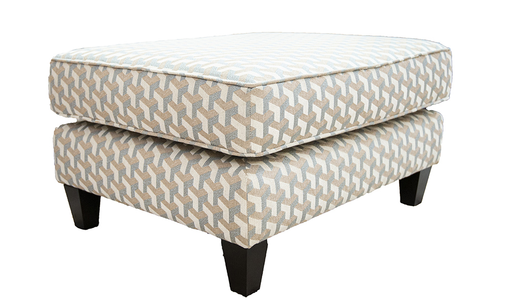 Nolan Island Footstool in levonne Dusk, Silver Collection Fabric