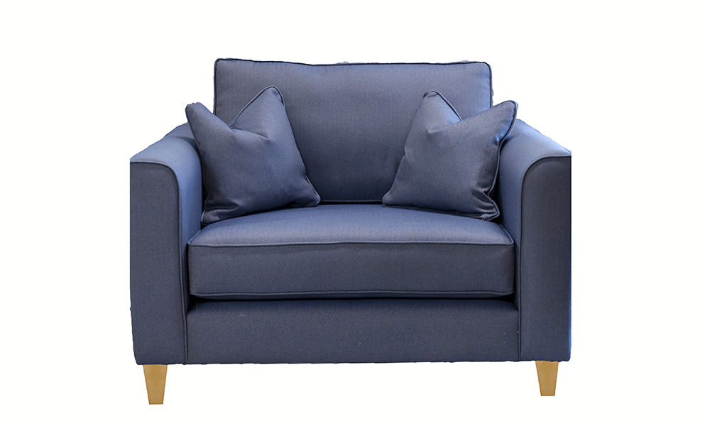 Nolan Love Seat in Ross Dundee Herringbone RS13629 Denim, Silver Collection Fabric