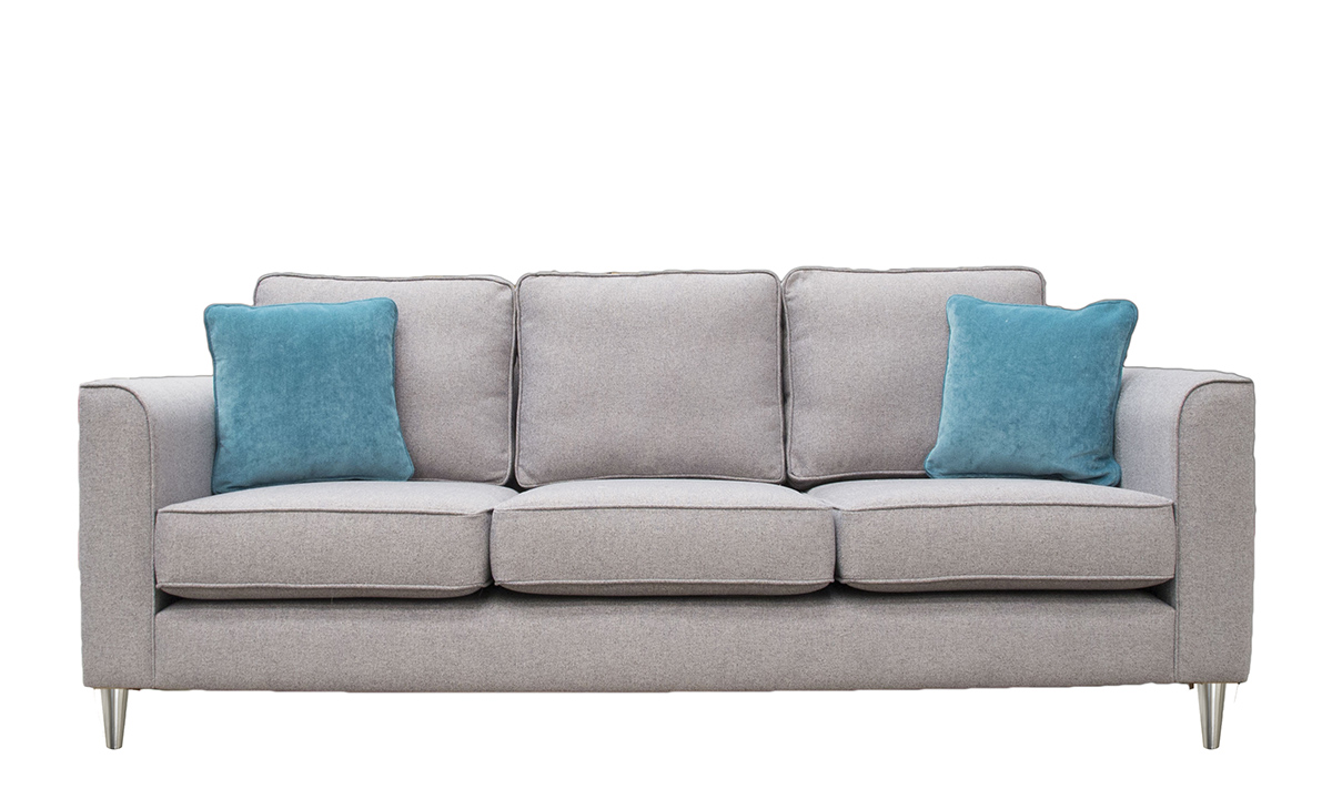 Nolan 3 Seater Sofa in Belize Azzure, Bronze Collection Fabric