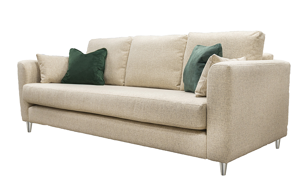 Nolan 3 Seater Sofa, with a Bench Seat, in Luca Beige, Bronze Collection Fabric
