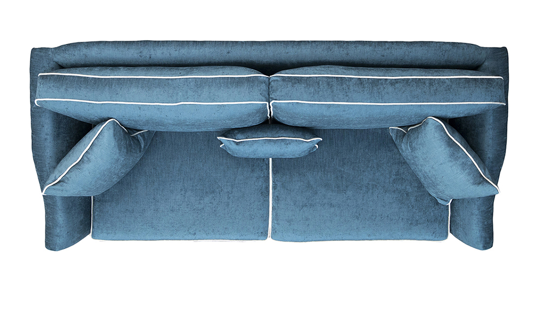 Othello Large Sofa Top View in Edinburgh Petrol Silver Collection Fabric
