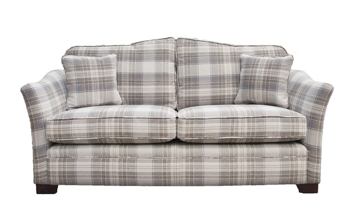 Othello 2 Seater Sofa in Aviemore Plaid Linen , Silver Collection Fabric