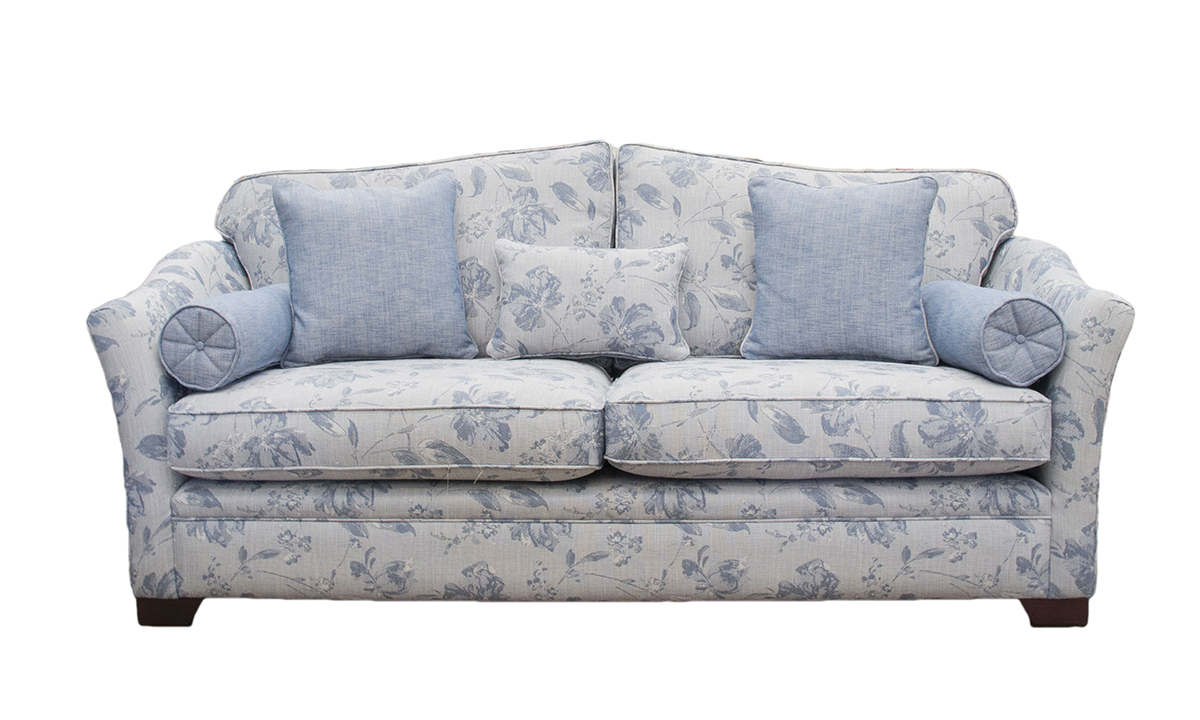 Othello 3 Seater Sofa in Varadi Pattern, Silver Collection Fabric