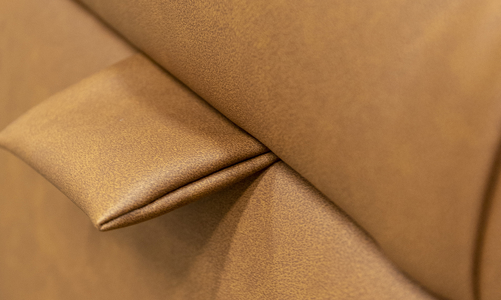 Ottogrand Deep Button Footstool Lid Detail in Dust Tan, Silver Collection Fabric - 405745 -