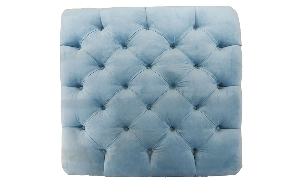 Ottogrand Deep Button Footstool Top View in Plush Airforce, Silver Collection Fabric