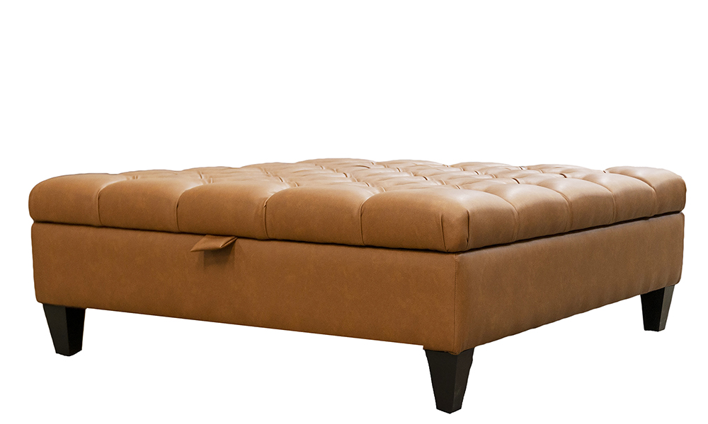 Ottogrand Deep Button Footstool in Dust Tan,  Silver Collection Fabric - 405745 -