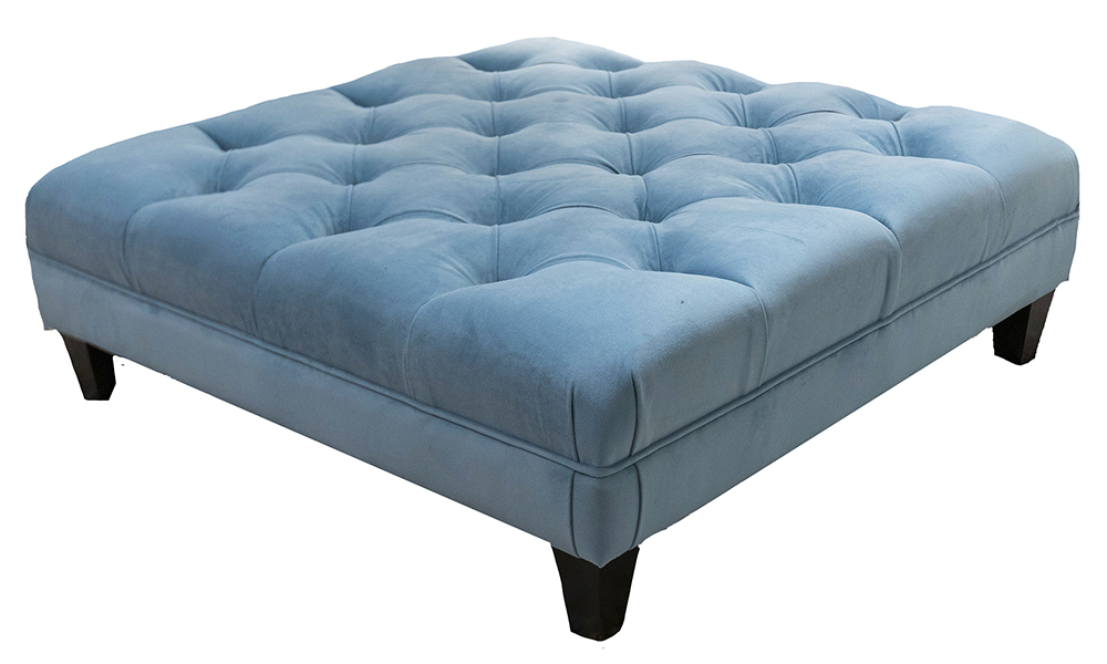 Ottogrand  Deep Button Footstool in Plush Airforce, Silver Collection Fabric