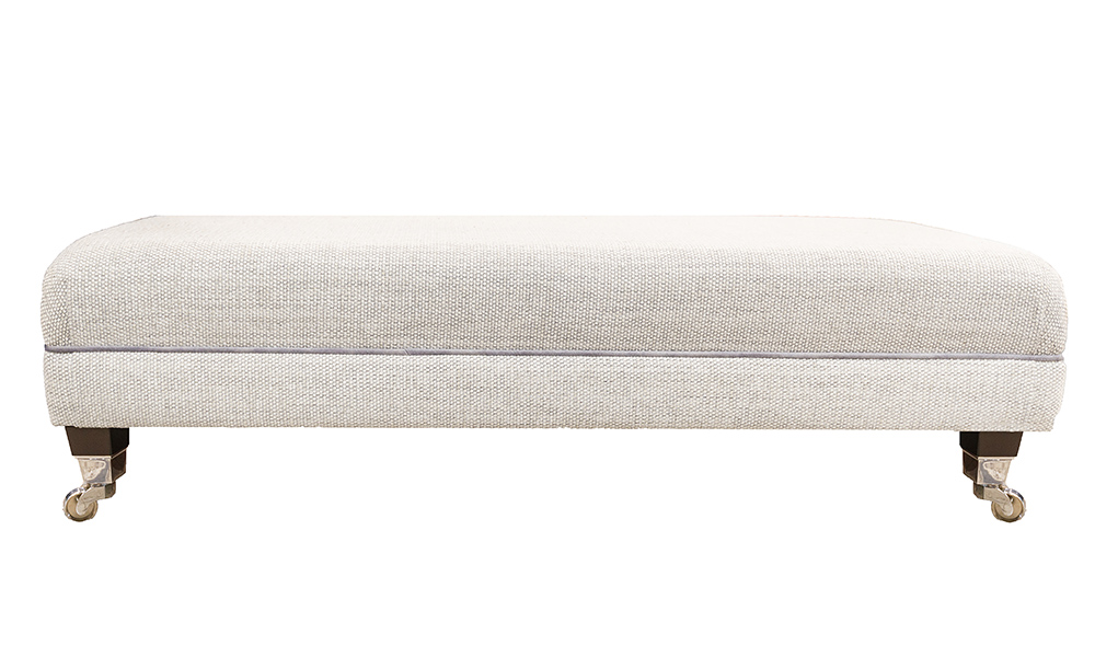 Ottolong Foostool in Bravo Cream Linen, Silver Collection Fabric