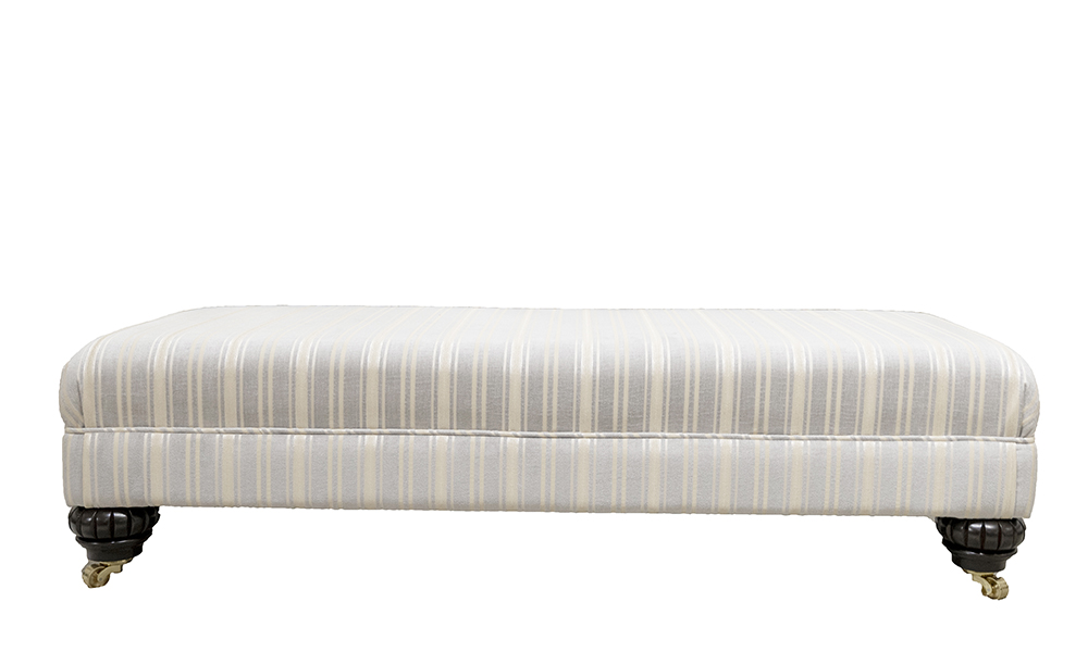 Ottolong Footstool in Tolstoy Stripe Ocean, Platinium Collection