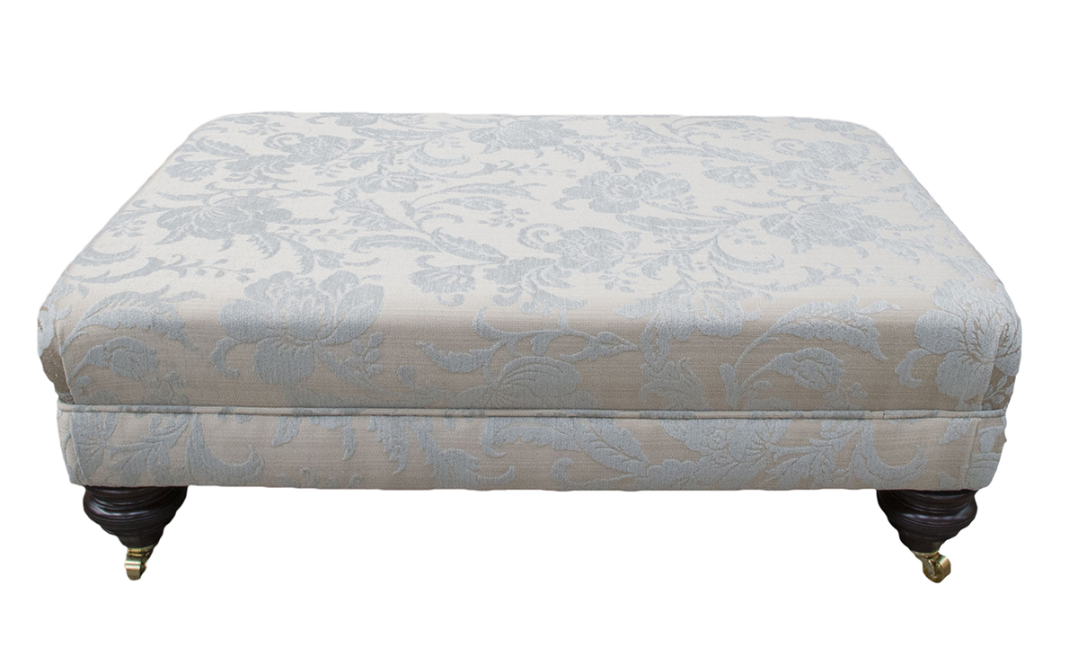 Ottoman in Burton Pattern Mist , Silver Collection Fabric