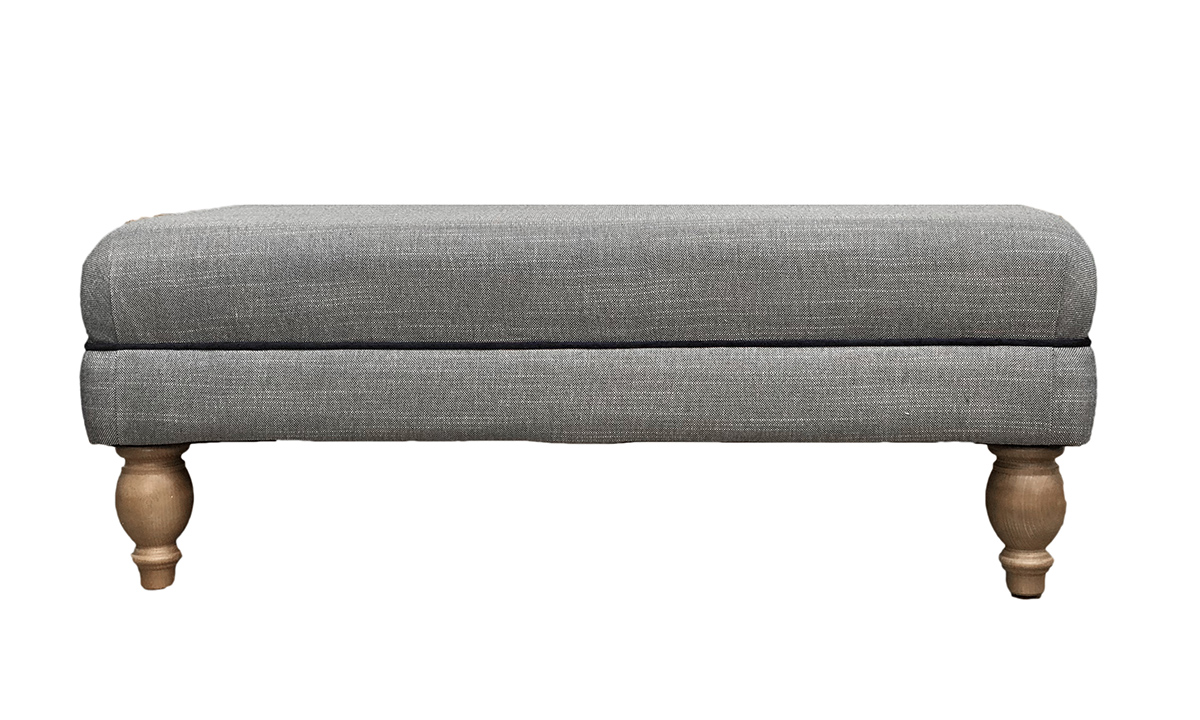 Ottoman Footstool in Ado Coal, Discontinued Fabric