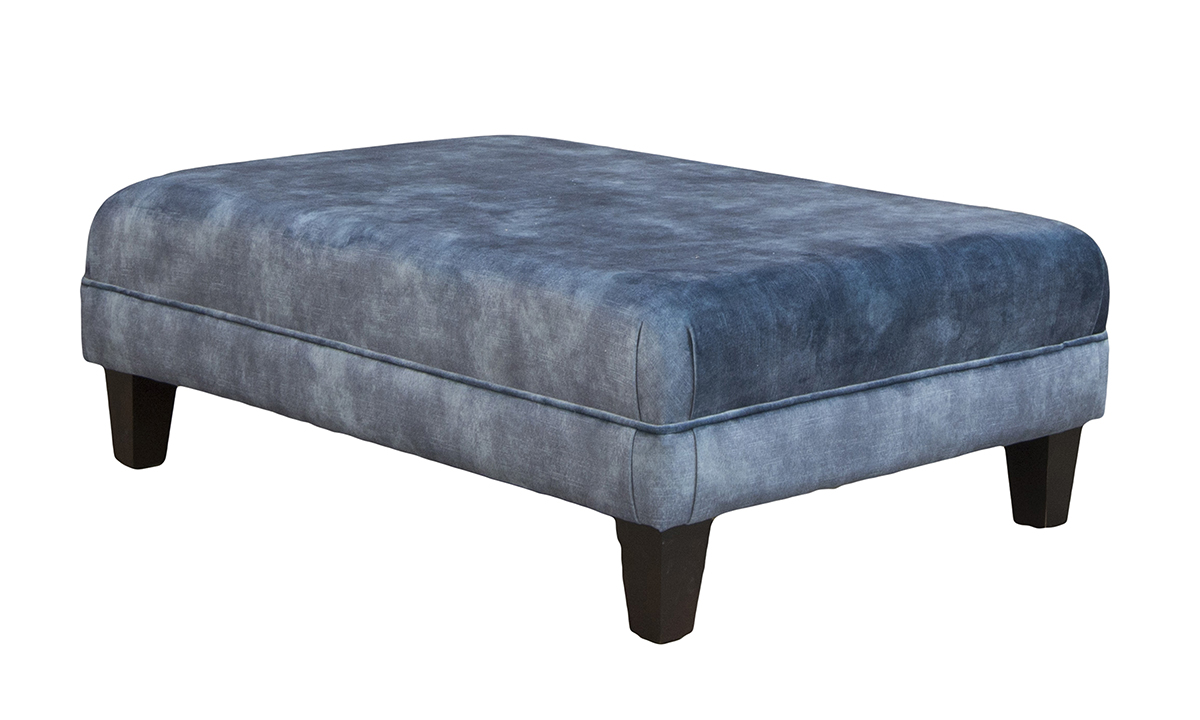 Ottoman in Lovely Atlantic, Gold Collection Fabric