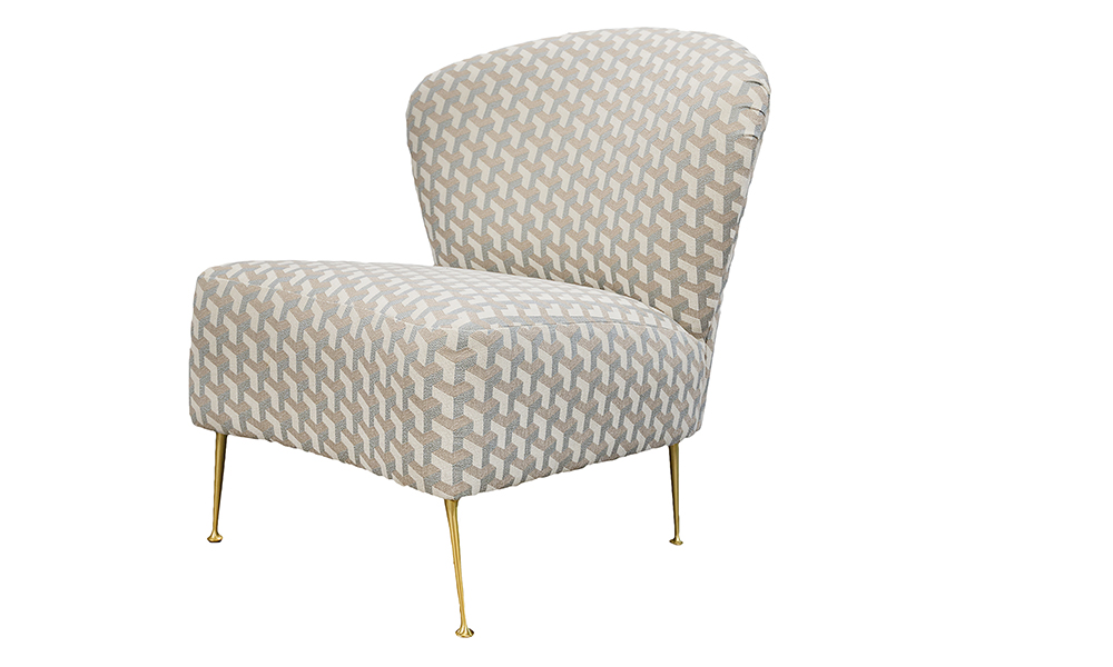 Philly Chair in Levonne Dusk Silver Collection Fabric