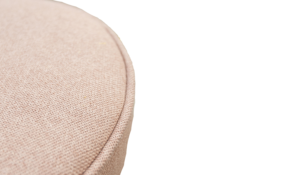 Pluto Footstool Close Up in Soho Blush, Silver Collection Fabric
